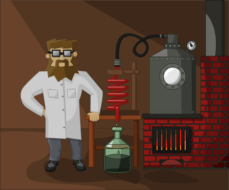 lab technician: bearded chemist on the background of the laboratory and laboratory glassware