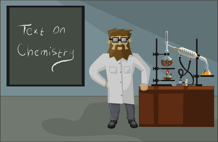 condenser: bearded chemist on the background of the laboratory and laboratory glassware