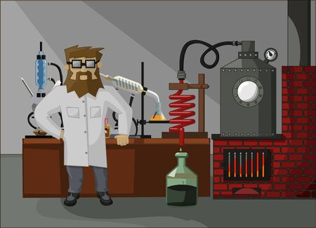stove pipe: bearded chemist on the background of the laboratory and laboratory glassware