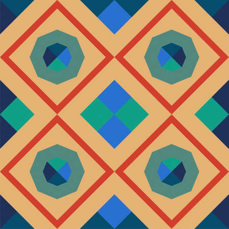 colorful geometric seamless pattern with squares and octagons Illustration