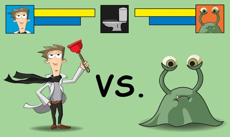 germ warfare: cleaning in the bathroom it is shown as a battle between man and microbe