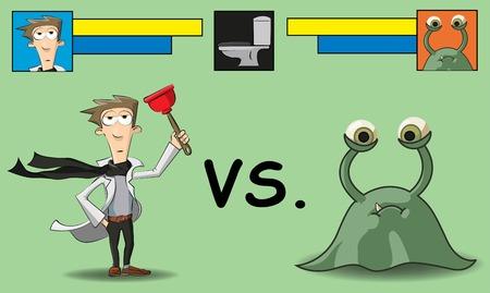 microbio: limpieza en el ba�o que se muestra como una batalla entre el hombre y microbio