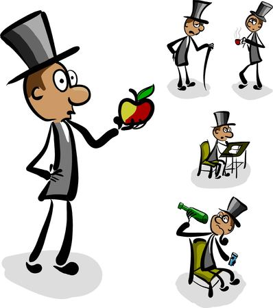 Set of five aristocrats in various poses
