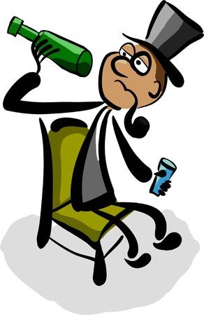 aristocrate alcoolique regarde combien il en reste dans la bouteille Vecteurs