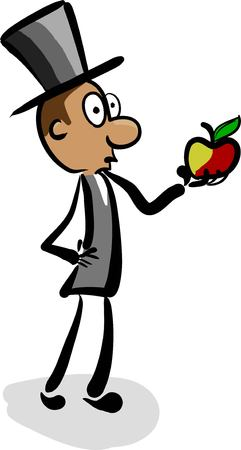 aristocrat in a hat looking at an apple and think Illustration