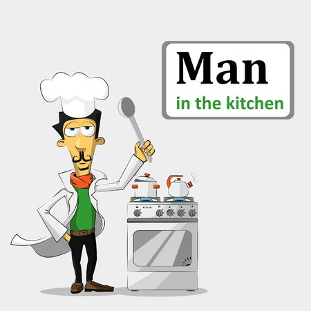chef in the orange scarf with a spoon standing near a gas stove, which heats and cooks the soup kettle. Vector Illustration