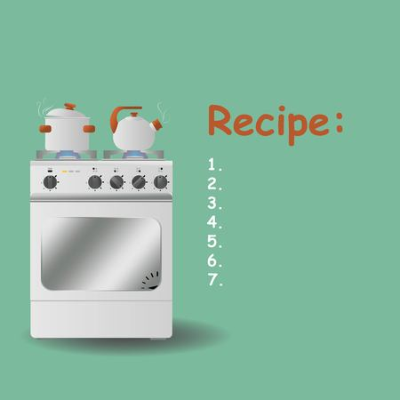 boil: Gas stove with a pot and a kettle on a turquoise background. Background for the recipe, menu, website. Illustration Vector