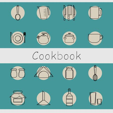 blue white kitchen: a set of icons in the form of white contours of kitchen utensils on a blue polka dot background. objects for restaurant, cafe, website, cookbook   Vector Illustration Illustration