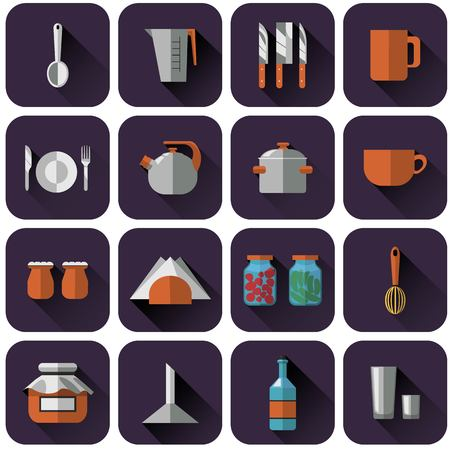 measuring spoon: a set of multi-colored purple logtipov with kitchenware. Icons, objects for restaurants, cafes, site | Vector Illustration