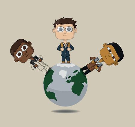 niños de diferentes razas: niños del mundo son las tres nacionalidades en el mundo. Los estudiantes con carteras de diferentes razas. Ilustración del vector Vectores