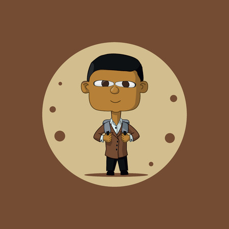 first class: Asian schoolboy in a brown jacket and carrying a briefcase. The first time in first class. Illustration Vector