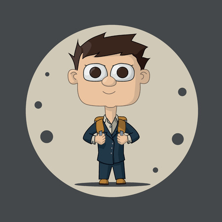 schoolboy: boy schoolboy in a blue suit with a briefcase. The first time in first class. Vector Illustration