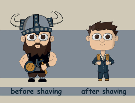 before: men before and after shaving. The reason is not to shave. Illustration Vector