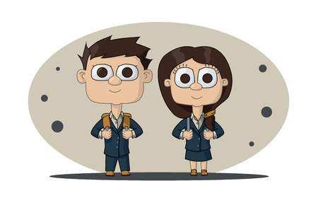 schoolboy: schoolgirl and schoolboy in a school of blue suits and briefcases. The first time in first class. Illustration Vector Illustration