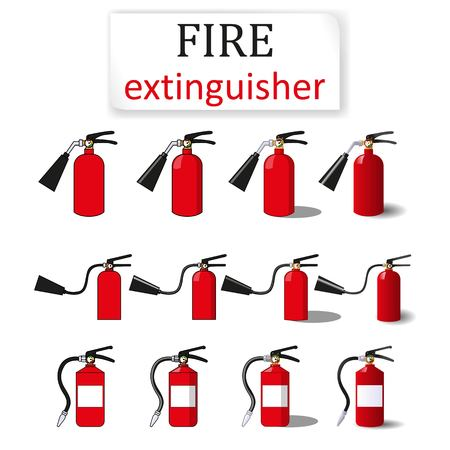 three fire extinguishers, painted in four ways: one filling, with a black stroke and color and 3D images