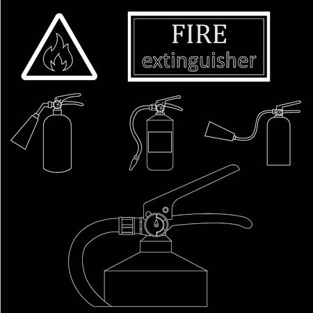extinguishers: white drawing contours of fire extinguishers on a black background. Sign flammable | Vector Illustration