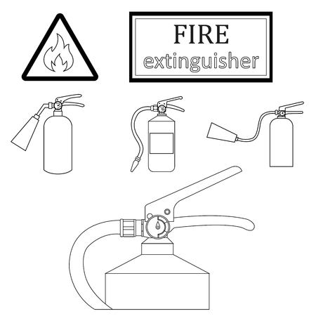 extinguishers: black contours of drawing fire extinguishers on a white background. Sign flammable | Vector Illustration Illustration