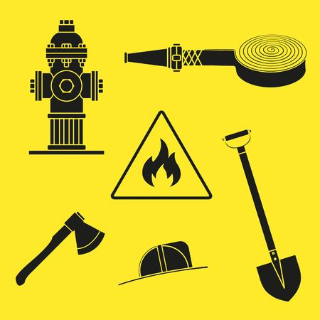 Set of drawings on the theme of fire service. Black silhouettes on a yellow background. Without stroke. Vector Illustration Illustration