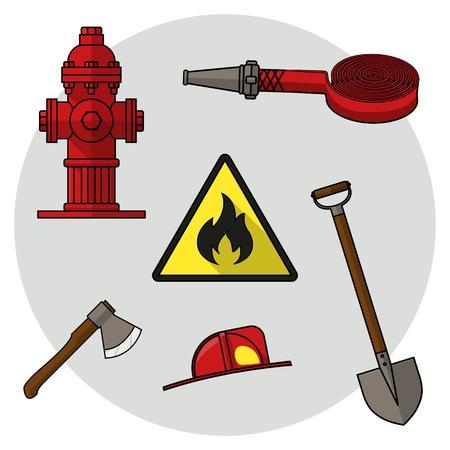 evacuacion: Conjunto de dibujos sobre el tema del servicio de bomberos. los objetos de color sobre un fondo blanco. Bomberos herramientas. Ilustración del vector