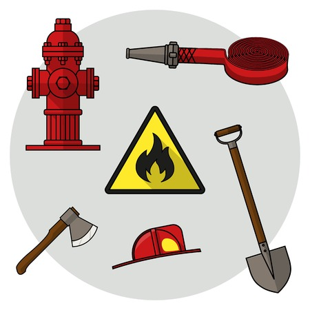Set of drawings on the theme of fire service. Colored objects on a white background. Firefighters tools. Vector Illustration