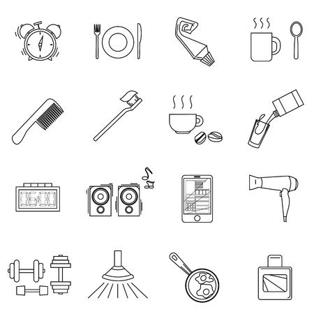 a set of objects on the morning. Black contour objects on a white background. Only a stroke. Icons, posters for shops and websites. Vector Illustration