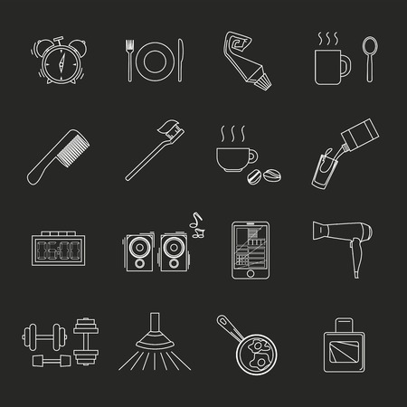 a set of objects on the morning. White contour objects on a black background. Only a stroke. Icons, posters for shops and websites. Vector Illustration