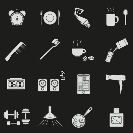 a set of objects on the morning. White silhouettes of objects on a black background. Icons, posters for shops and websites. Vector Illustration 向量圖像