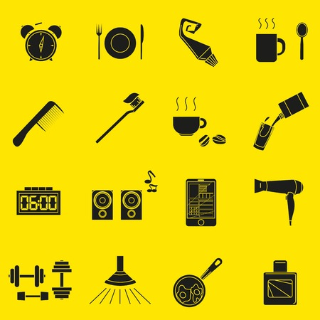a set of objects on the morning. Black silhouettes of objects on a yellow background. Icons, posters for shops and websites. Vector Illustration