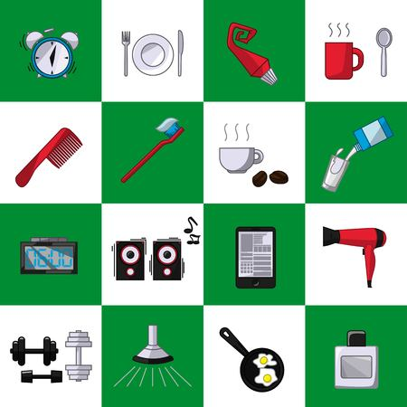 a set of objects on the morning. Colored objects on shahmotnom white green background. Icons, posters for shops and websites. Vector Illustration