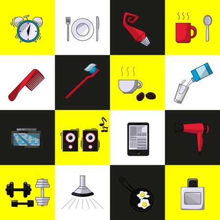 a set of objects on the morning. Colored objects on a white background black and yellow. Icons, posters for shops and websites. Vector Illustration