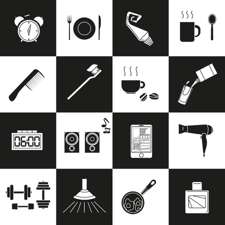 a set of objects on the morning. Black and white silhouettes of objects on a checkerboard background. Icons, posters for shops and websites. Vector Illustration