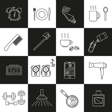 a set of objects on the morning. Black and white contour objects on a chessboard background. Only a stroke. Icons, posters for shops and websites. Vector Illustration 向量圖像