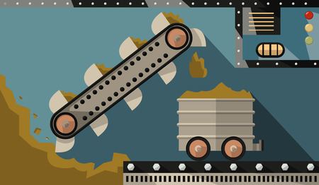 ore: bucket conveyor dig ore and load it into the trailer. Gornodoyvayuschaya and heavy industry. Vector Illustration Illustration