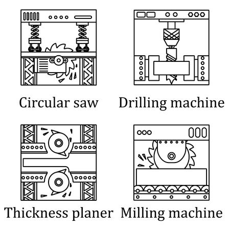 steel mill: Set of four pictures of industrial machines. Black contour on white background. Illustration