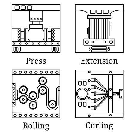press nuts: a set of four pictures processes.