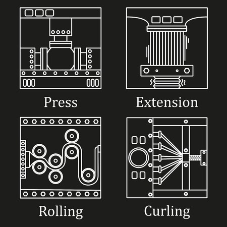 press nuts: a set of four images of technological processes.
