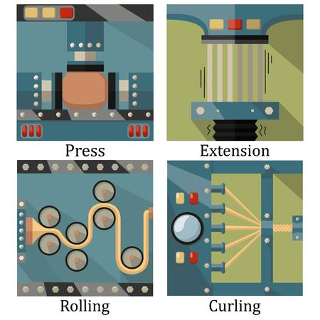 press nuts: a set of four images of technological processes: pressing, twisting, rolling, stretching