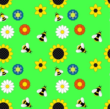 background of flowers and bumble bees and bees on a green meadow. Seamless background. Illustration Vector