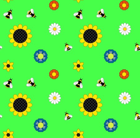 pollinate: background of flowers and bumble bees and bees on a green meadow. Seamless background. Illustration Vector