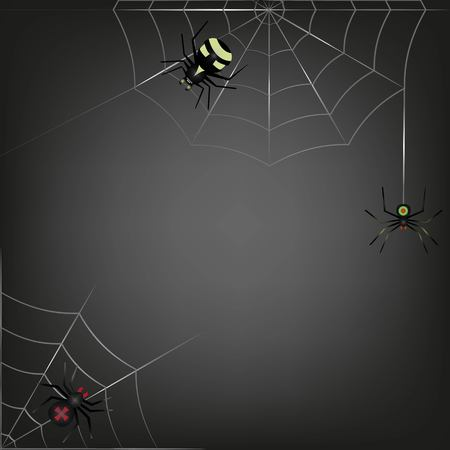 instinct: black background of the three spider sitting on two webs. The poster, backdrop, background for a horror movie or amusement. Vector Illustration