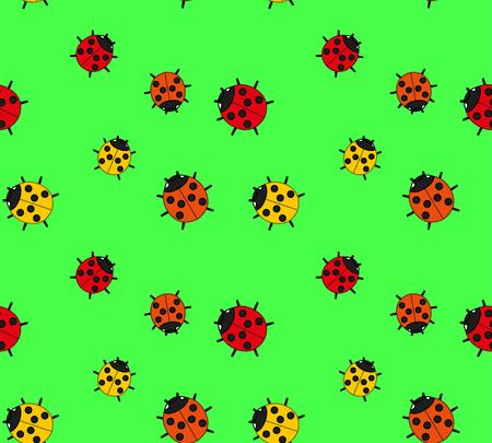 arthropod: background of the three species of ladybirds on a green meadow. Bright colors: yellow, red, green, orange. Seamless background. Vector Illustration Illustration