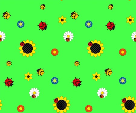 Background of the five kinds of flowers and three kinds of ladybugs on a green meadow. Bright colors: blue, yellow, red, green, orange. Seamless background. Vector Illustration