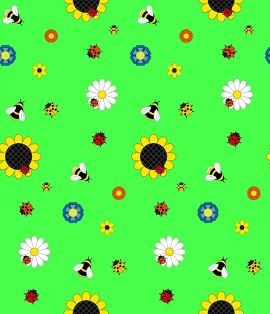 Background of the five kinds of flowers, bumble bees, bees and ladybirds on a green meadow. Bright colors: blue, yellow, red, green, orange. Seamless background. Vector Illustration
