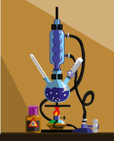 synthesis: Installation for carrying out the syntheses, scientific papers, studies of reactions with chemicals in the laboratory. The combined laboratory glassware. The background for the site, banner, book. Illustration Vector