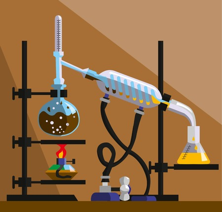 apparatus for distillation, purification and separation of volatile liquids. The installation consists of round-bottom flask, reflux condenser, thermometer, spiral refrigerator, flat-bottomed flask