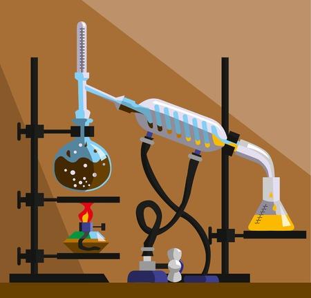 destilacion: aparato para la destilación, purificación y separación de líquidos volátiles. La instalación consiste en matraz de fondo redondo, condensador de reflujo, termómetro, refrigerador espiral, matraz de fondo plano