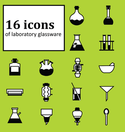distilling: Set of 16 icons of various laboratory glassware. Illustration