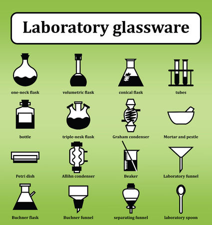 distilling: Set of 16 icons of various laboratory glassware. Backgrounds, icons, objects, logos, logos for websites, banners, books, textbooks on the subject of chemistry, chemical technology and engineering. Vector Illustration Illustration