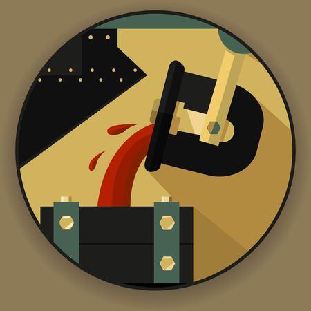 Round logo emlema, un symbole en forme de processus de fusion de métal du minerai. Processus technologique dans le traitement et l'exploitation minière métallique. Vector Illustration Logo