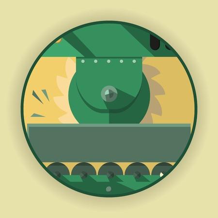 Logo rond, une icône, un symbole sous forme de processus de coupe de métal. L'emblème pour la compagnie de l'industrie lourde. Méthode de traitement de divers métaux, matières plastiques et bois. Illustration Vecteur